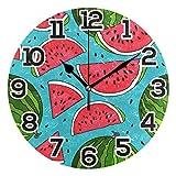 Reloj de pared Verano Fruta Sandía Reloj de acrílico redondo de dibujos animados Negro Números grandes Reloj silencioso sin tictac Pintura decorativa Reloj con pilas para la biblioteca del hotel de la