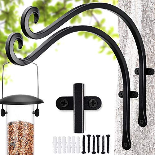 Qiang Ni Bird Feeders Hanger (2 Pieces/12 Inch) Outdoor Plant Hanging Bracket More Stable and Sturdy Hanging Plant Bracket.