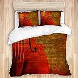 Juego de funda nórdica de 3 piezas, fondo de sonido vintage grunge marrón abstracto con instrumento musical de violín, juegos de fundas de edredón para dormitorio, colcha con cremallera con 2 fundas d