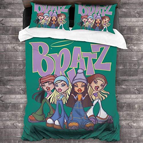 Yuanmeiju Bratz Bed Set Duvet Cover and Pillow Case 3 Piece Bedding Set 86'X70'
