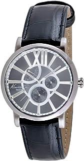 ساعة يد من كينيث كول للرجال بمينا رمادي وسِوار جلدي، KC1980