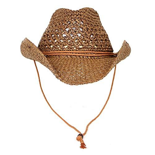 LTSWEET Cowboy Strohhut Herren Damen Cowboyhut Western Sonnenhut Strand Kappe Breiter Krempe Sommer Sonnenschutz Outdoor Camping mit Kinnriemen Natur,Braun