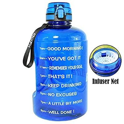 BuildLife 73OZ Motivational Water Bottle Wide Mouth with Time Marker/Flip Top Leakproof Lid/One Click Open/Large BPA Free Capacity for Fitness Goals and Outdoor(Blue, 73OZ)