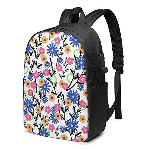XCNGG Einfacher Blumenmuster-Rucksack, Rucksack mit USB-Ladeanschluss und Kopfhörerkabelanschluss, 17-Zoll-Rucksack