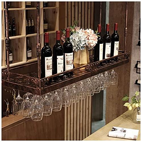 LCJD Estante de exhibición al revés, Estante para Copas, Estante para Copas de Vino, Estante para Bar, Estante para Copas de Vino, Estante para Vidrio Colgante (Color: marrón, tamaño: 100 * 35 cm