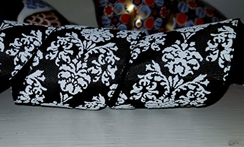 Ribbon Queen 2m Black White Damask 1.5' Wired Wire Edged Edge Taffeta Ribbon. Cakes, Trees, Presents, Christmas