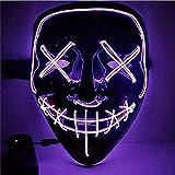 Sinwind LED Mascaras Halloween, LED Máscaras Carnaval, Mascaras Luces LED Neon Luminosas, Máscaras de la Purga, Craneo Esqueleto Mascaras para Cosplay Grimace Festival Fiesta Show(Morado)