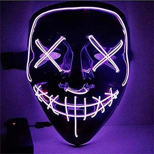 Sinwind LED Purge Maske, The Purge Maske, Halloween Maske LED, LED Mask mit 3 Blitzmodi für Party Halloween Fasching Karneval Kostüm Cosplay Dekoration (Lila)