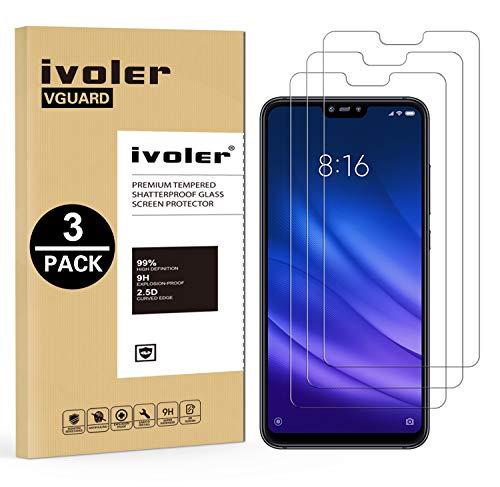 ivoler [3 Stücke] Panzerglas Schutzfolie für Xiaomi Mi 8 Lite, 9H Festigkeit, Anti- Kratzer, Bläschenfrei, [2.5D R&e Kante]