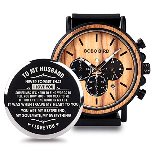 BOBO BIRD Mens Personalized Engraved Wooden Watche, Stylish Wood & Stainless Steel Combined Quartz...