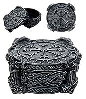 "Ebros Norse Mythology Thor Mjolnir Hammer Vegviser Magical Talisman Compass Jewelry Trinket Box Figurine 5""L As Viking Old Gods Decor Statue Small Storage Container"