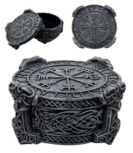Ebros Norse Mythology Thor Mjolnir Hammer Vegviser Magical Talisman Compass Jewelry Trinket Box Figurine 5'L As Viking Old Gods Decor Statue Small Storage Container