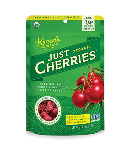 Karens Naturals Organic Just Cherries, 2 Ounce (Pack of 1) (Packaging May Vary) Organic All Natural Freeze-Dried Fruits & Vegetables, No Additives or Preservatives, Non-GMO