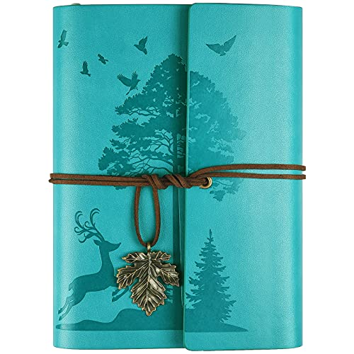 Leder Notizbuch Tagebuch, Nachfüllbar Vintage Liniert Reisetagebuch Personalisiert, Ringbuch Tagebuch Für Erwachsene A5 16.5 cm x 23.4cm (Blau)