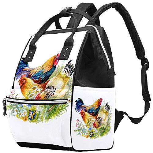 Grand sac à langer multifonction pour bébé, sac à dos, sac à dos, sac à dos de voyage pour maman et papa, poulet et coq dans l'herbe