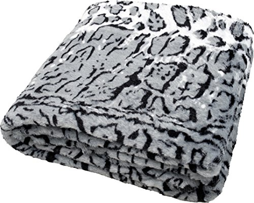 daydream Kuscheldecke aus Kunstfell/Faux Fur Double Polyester Schnee-Leoparden-Decke 150 x 200 cm cm (K-9002)