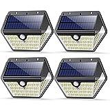 Luz Solar Exterior 150 LED, VOOE Luces Solares Exterior con Sensor de Movimiento, 270º lluminación Focos Solares Exterior IP65 Impermeable Lampara Solar para Exterior Jardin (3 Modos / 4 Paquete)