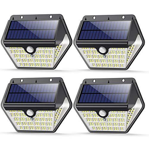 【4 Pezzi】Luce Solare Led Esterno, VOOE Faretti Solari a 150 LED da Esterno con Sensore di Movimento, 270ºIlluminazione IP65 Impermeabile,3 Modalità Lampada Solare da Esterno per Giardino,Parete
