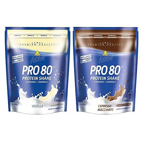 Inkospor Active Proteinshake Pro 80 Beutel 2er Mix Pack (2 x 500 g) Vanille/Espresso Macchiato, 1er Pack (1 x 1 kg)