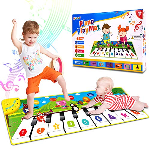 Aywewii Musical Toys, Music Mat, Piano Play Mat Child Floor Piano Dance Keyboard Mat, Early Education Toys for 1 2 3 4 5 Year Old Girls Boys, Birthday Xmas Gift for Kids Toddler Baby