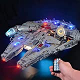 T-Club Upgrade RC Led Light Kit Set for Lego 75192 Star Wars Ultimate Millennium Falcon Building Kit (Not Include Lego Model) (with RC)