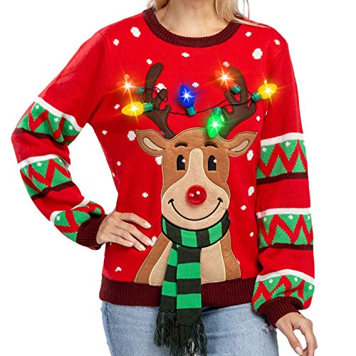 Womens LED Light Up Reindeer Ugly Christmas Sweater Built-in Light Bulbs (Medium, Red)