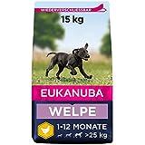 Eukanuba Welpenfutter mit frischem Huhn für große Rassen - Premium Trockenfutter für Welpen, 15 kg