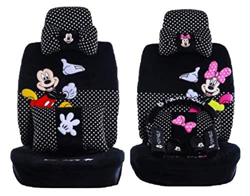 Maimai88 2019 New 1 Set of Cute Cartoon Mickey Mouse Universal car Cover Super Soft Four Seasons Cartoon car seat Cover Accessories car (Black dot 803)