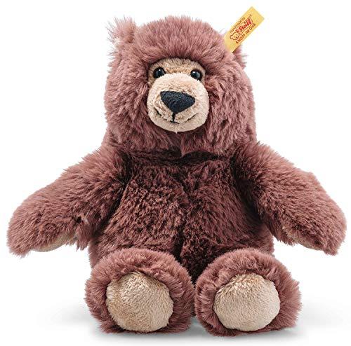 Steiff Bella Bär, Original Plüschtier 20 cm, Plüschbär Teddy sitzend, Kuscheltier für Kinder, Soft Cuddly Friends, Schmusetier zum Spielen & Kuscheln, waschbar, Stofftier rotbraun (113871)