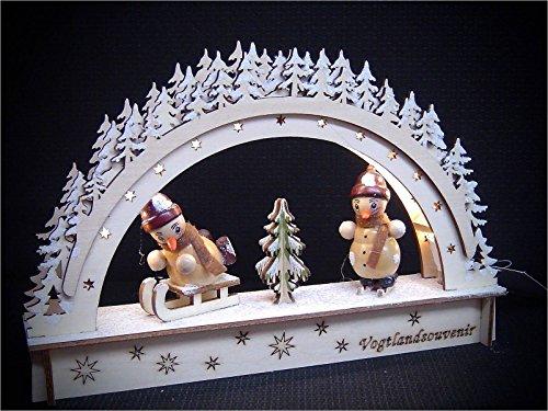 Vogtland Souvenir 3D LED Lichterbogen Schwibbogen Leuchter 2 Schneemann Figuren Schnee 22x14