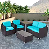 Peach Tree 4 PCs Outdoor Wicker Rattan Sofa Set Armrest Sofa with Coffee Table Patio Furniture Sectional Set with All-Weather Washable Removable Cushions Backyard Pool