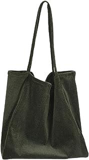 Deloito Handtaschen Deloito Damen Mode Cord Schultertasche Grosse Kapazität Segeltuch Handtaschen Hochschule Mädchen Quadrat Faltbar Einkaufen Tragetasche