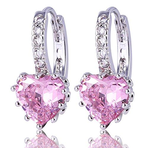 GULICX 925 Sterling Silver Huggie Hoop Earrings for Girl Friend Love Heart Pink Stone Zirconia