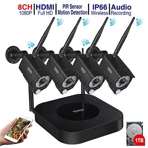 (Audio+PIR) Tonton 1080P Full HD 8CH WLAN Überwachungskamera Set mit 1TB Festplatte 4 Außen HD 1080P Funk IP Überwachungskamera, 20M IR Nachtsicht Kompatibel mit Smartphones,Tablets, Windows PC