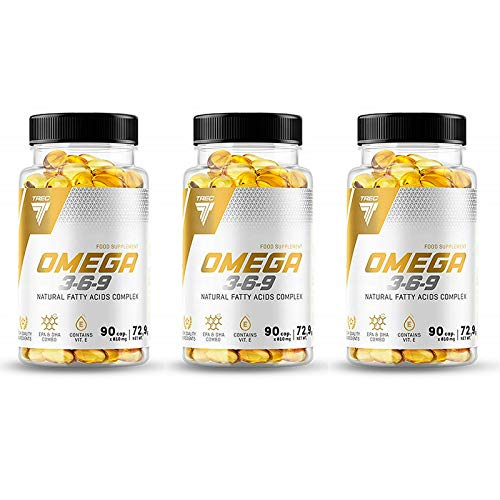TREC Omega 3-6-9 | Natural Fatty Acids Complex Fish Oil | ALA EPA DHA CLA | Supports Heart, Brain Function and Eye Health (270 Capsules)