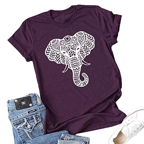 Vdnerjg Women's Cute Elephant Graphic T Shirts Summer Short Sleeve Casual Cotton Tees Tops Purple