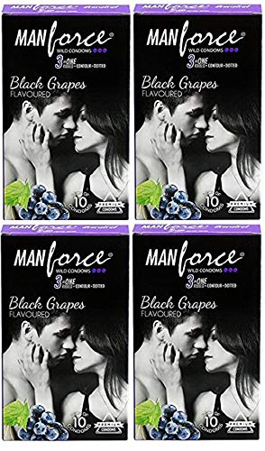 Manforce 3 in 1 Wild Ribbed Contour Dotted Black Grapes Flavored Condoms For Men,40 Condoms