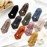 RMENGNW Unsichtbare Socken Bestickte Katze Fox Baumwolle Socken Happy Ankle Lustige Socken Baumwolle Baumwolle Sommer 10 Paar Süßigkeiten Farbe
