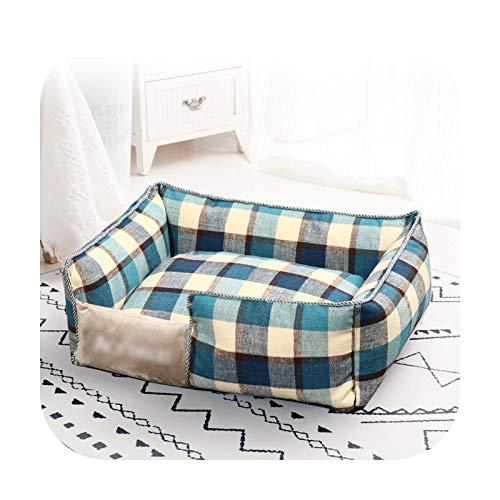 Cama lavable para mascotas para perros, casa de gato, suave, colchonetas, cojín portátil para cachorros, camas para dormir para perros y mascotas, suministros clásicos a cuadros, 35 x 45 cm