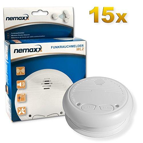 15x Nemaxx WL2 Funkrauchmelder - hochwertiger Rauchmelder Brandmelder Set Funk koppelbar vernetzt - nach DIN EN 14604