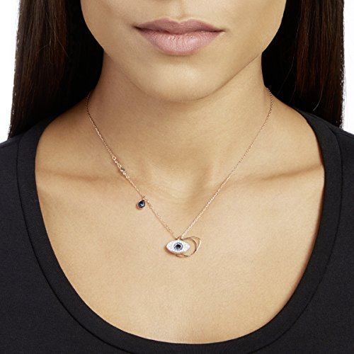 Swarovski Women's Symbolic Evil Eye Pendant Necklace, Finely Cut Stones in Blue and White with a Rose-Gold Tone Plated Coloured Chain