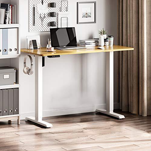 Forfar Elektrisch Höhenverstellbarer Schreibtisch,Ergonomischer Steh-Sitz Tisch mit Memory Funktion (120 x 60, Weißer Rahmen + Natur-Desktop)