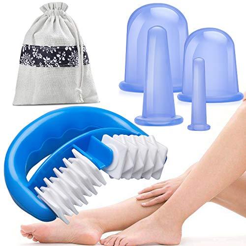 HBselect Set Coppettazione Silicone con Roll Massaggiatore Cellulite Massaggiatore Anticellulite Trattamento Anti cellulit Rassodante Kit Cupping