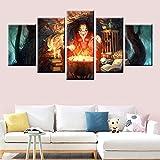 KWzEQ Sala de Estar Mural Lienzo Arte Imagen Cartel Bruja Bruja Modular 5 Paneles impresión HD,Pintura sin Marco,40x60cmx2, 40x80cmx2, 40x100cmx1
