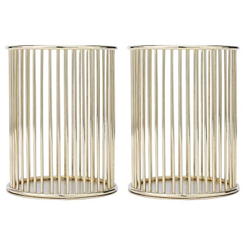 BS-MALL Makeup Brushes Organizer Metal Wire Makeup Brush Pencil Cup Holders Golden,Pack of 2