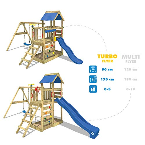 WICKEY Spielturm Klettergerüst TurboFlyer mit Schaukel & blauer Rutsche, Kletterturm mit Sandkasten, Leiter & Spiel-Zubehör - 2