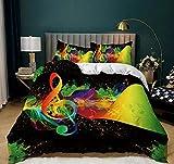 3D Juego de Funda de edredón,Símbolos de música Colorida Microfibra Ultra Suave de Ropa de Cama para Adultos,niños,Cremallera Oculta,3 Piezas(1 Funda Nórdica + 2 Funda de Almohada) 220X240 cm