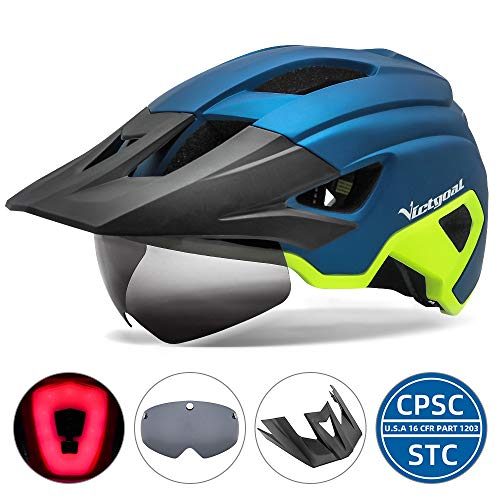VICTGOAL Adult Bike Helmet Men with USB Rechargeable LED Rear Light Detachable Magnetic Goggles and Sun Visor Mountain & Road Bicycle Helmets for Men Women Cycling Helmets (Blue Yellow)