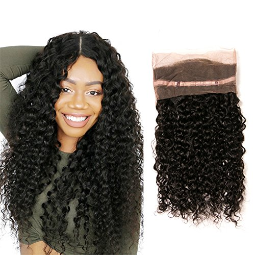 Curly Lace Frontal 360 Closure Brazilian Hair Grade 8 Single Pre Plucked Free Part with Baby Hair Virgin Remy Extensions Cheveux Naturels (14(360))