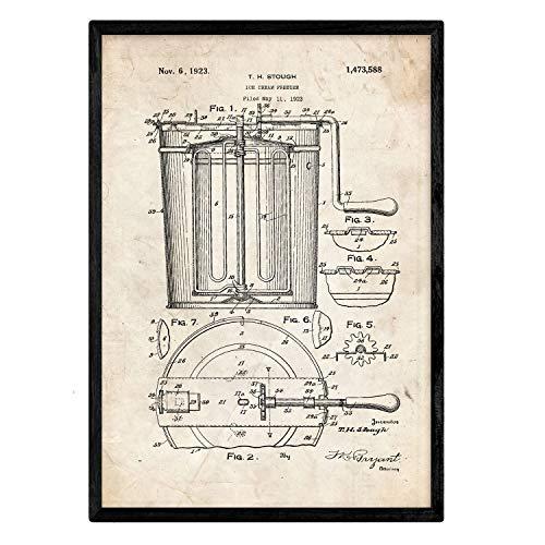 Poster met patent Nacnic ijs vriezer. Blad met oud designoctrooi op A3-formaat en vintage achtergrond